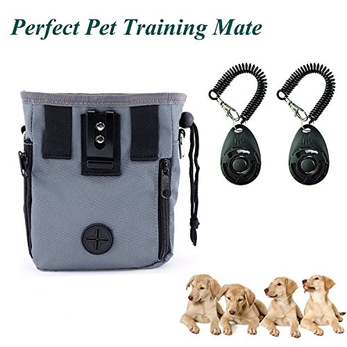 GOSTAR Professional Dog Training Clicker 2-Pack & Treat Pouch With Waste Bag Dispenser With Long Waist Belt And Over Shoulder Strap Perfect Dog Training Mate