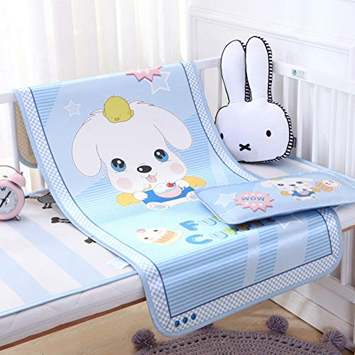 Ice Bedding Crib (Baby Summer Cool Mat Cartoon Bed Pad with Pillow Set Breathable Ice Silk Sleeping Crib Mattress for Newborn Toddler Bed 2 Size)