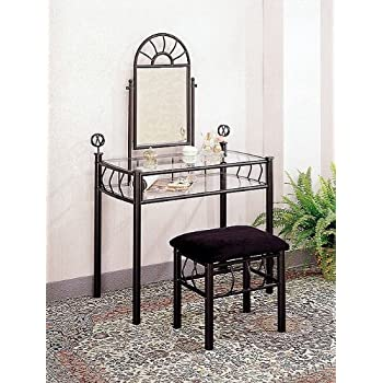 Amazon Com Black Wrought Iron Vanity Table Set Make Up