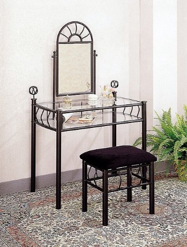 Black Wrought Iron Vanity Table Set Make Up Mirror - Iron Wrought Furnishings