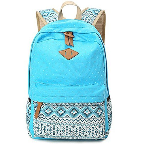 Minch Polka Dot School Backpack- Casual Style Canvas 14