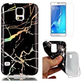 For Samsung Galaxy S5 Marble Case Black,OYIME Unique Luxury Glitter Colorful Plating Pattern Skin Design Clear Silicone Rubber Slim Fit Ultra Thin Protective Back Cover Glossy Soft Gel TPU Shell Shockproof Drop Protection Protective Transparent Bumper and Screen Protector