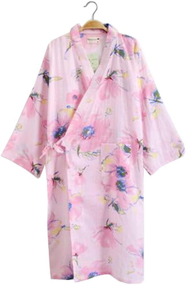 Albornoz de manga larga de algodón Kimono para mujer con patrón de peluche - A3: Amazon.es: Ropa y accesorios