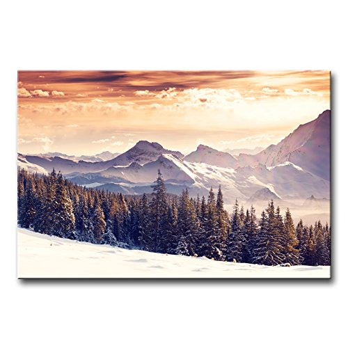 Wall Art Decor Poster Painting On Canvas Print Pictures Fantastic Evening Winter Landscape Dramatic Sunset Sky Caucasus Mountain Landscape Jokul Framed Picture for Home Decoration Living Room Artwork