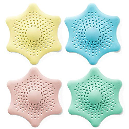 Eunion Shower Drain Hair Catcher Hair Stopper, Hexagonal Starfish Shaped Rubber Strainer-4 Pack in Assorted Colors