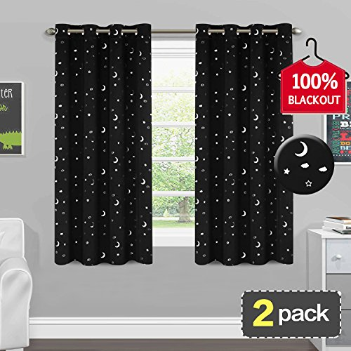 Stars Decorations Moon (Thermal Insulated 100% Blackout Curtains Moon and Star Decoration Grommet Panels for Kids Room (W 52 x L 63 Inch, 2 Panels) Window Treatments Space Inspired Magical Drapes for Nursery Room, Black)