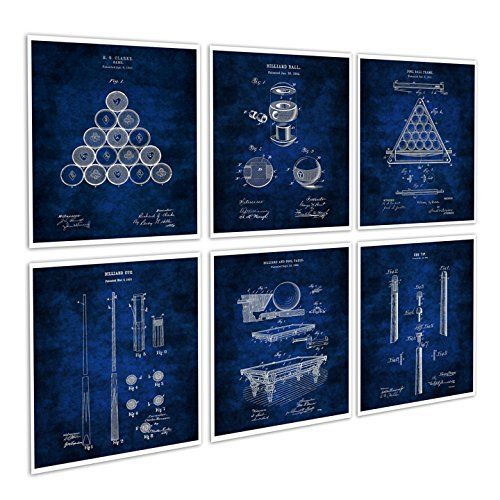 Gnosis Picture Archive Billiard Decor Set of 6 Blue Art Prints of Billiard Pool Table Billiard Balls Billiard Cue Invention Blueprints Patents_Billiard_Blue6A ()