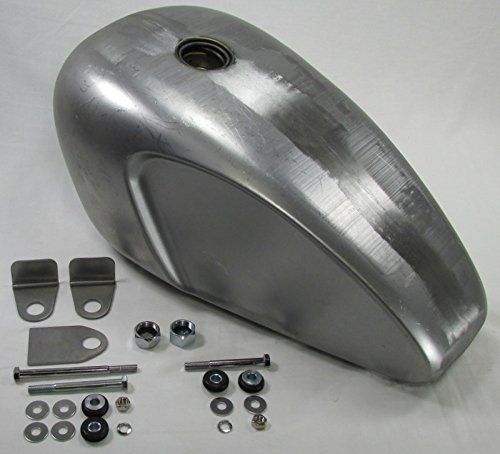 (Scalloped Legacy Triumph Style Custom Build Gas Tank with Mounting KIT - Steel - 3.8 Gallon Capacity - Motorcycle Chopper Bobber Cafe Racer Fuel Cell Petrol)