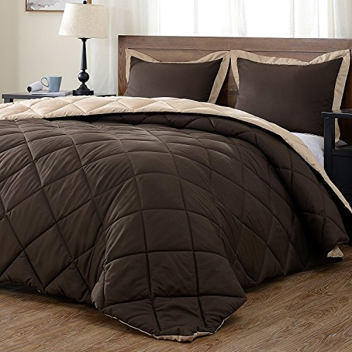 downluxe Lightweight Solid Comforter Set (King) with 2 Pillow Shams - 3-Piece Set - Brown and Tan - Hypoallergenic Down Alternative Reversible Comforter