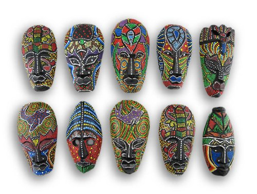 - Set of 10 Hand Carved Island Tribal Masks Dot Painted 6 1/2 Inch