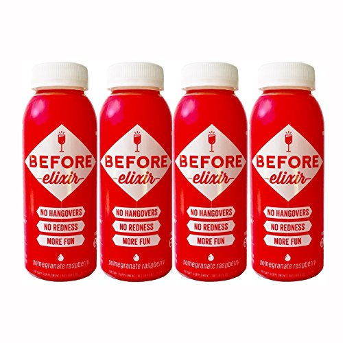 Before Elixir Alcohol Detox Drink for Hangover Prevention – Provides Liver Support, Replenishes Nutrients, Helps Rehydrate, and Boosts Energy with B Vitamins – 8 oz Bottles (4 Pack)