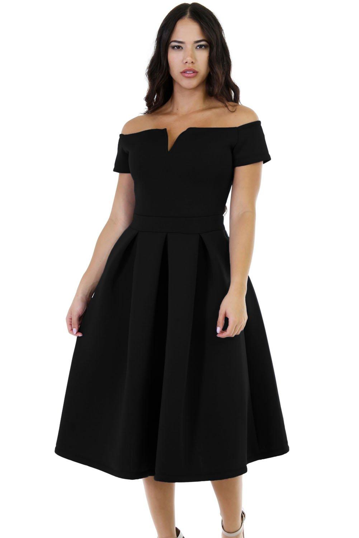 Lalagen Women's Vintage 1950s Party Cocktail Wedding Swing Midi Dress Black XXL by Lalagen