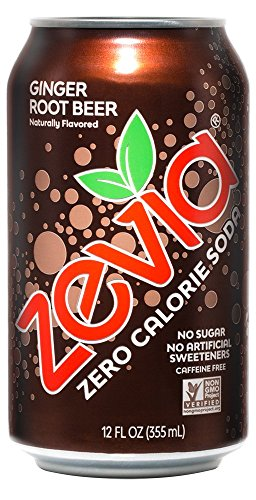 Zevia Zero Calorie Soda, Ginger Root Beer, Naturally Sweetened Soda, Ginger Root Beer-flavored Carbonated Soda; No Sugar, 12 Fl Oz, Pack of 24
