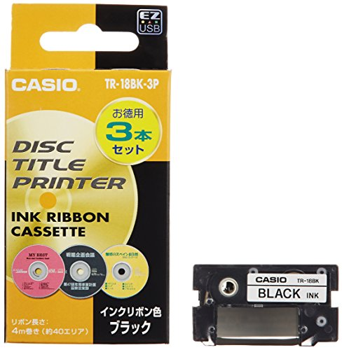 Casio Cw 50 Ribbon (Casio disc title printer ink ribbon TR-18BK-3P Black 3 pieces)