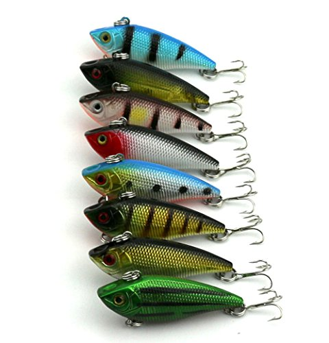 "Hengjia Pack of 8 Sinking Rattling Wiggler VIB Lipless Crankbaits Hard Fishing Lures Vibe Vibration Rattle Hooks for Sea Bass & Trout 5cm/1.97""/6g"