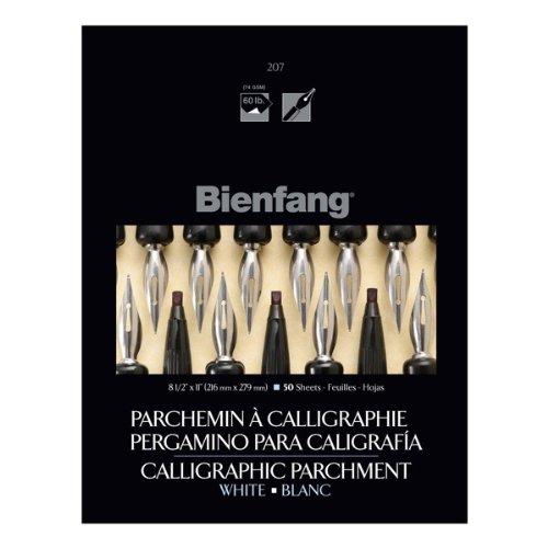 Bienfang Calligraphy Parchment Paper Pad, 8.5 X 11 inches, 60 lb, Bright White, 50 Sheets (R400127)