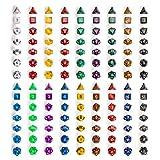 126 Polyhedral Dice, 18 colors with Complete Set of d4 d6 d8 d10 d12 d20 d%
