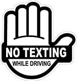 "No Texting While Driving Sticker Black, 4"" High X 3.85"" Wide"