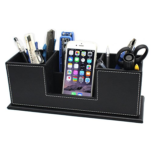 MOTONG Multi-function Leather Desk Stationery Organizer Storage Case For Mobile and Office Stationery (Black) by MOTONG