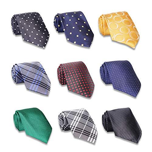 Package Stripe - AVANTMEN 9 PCS Classic Men's Neckties Woven Jacquard Neck Ties Set (9 Pack-style E)