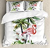 Flamingo King Size Duvet Cover Set by Ambesonne, Watercolor Island Composition Exotic Forest Leaves and Hibiscus Spring in Hawaii, Decorative 3 Piece Bedding Set with 2 Pillow Shams, Multicolor