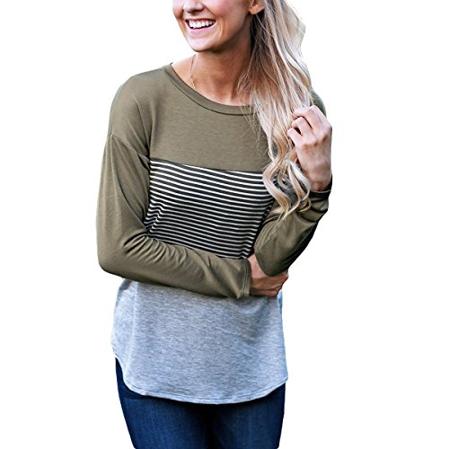 T Manches Coton l'automne Chemise Greed Chemises longue Fashion shirt Patchwork Femmes Longues Stripe QHDZ femme xwzY0ZqUY
