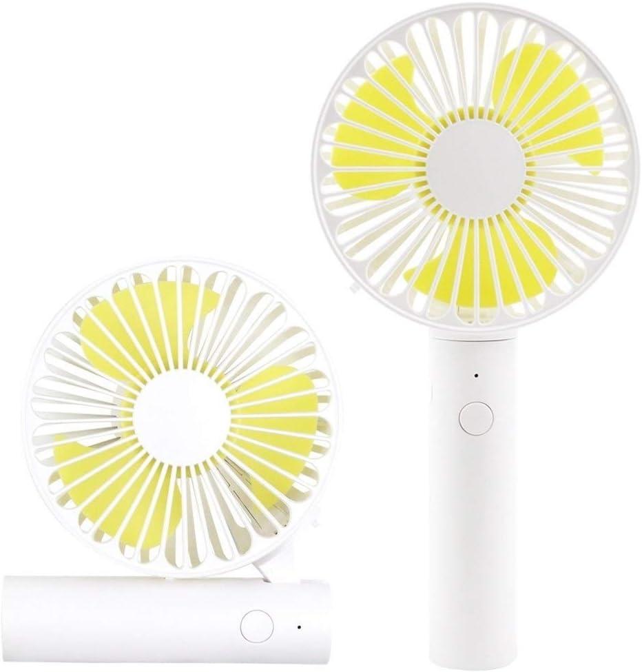 Air Cooling Fan Small Fan USB Handheld Rechargeable Folding Fan 3 Gear Wind Personal Fan Color : Yellow, Size : 1800mAh