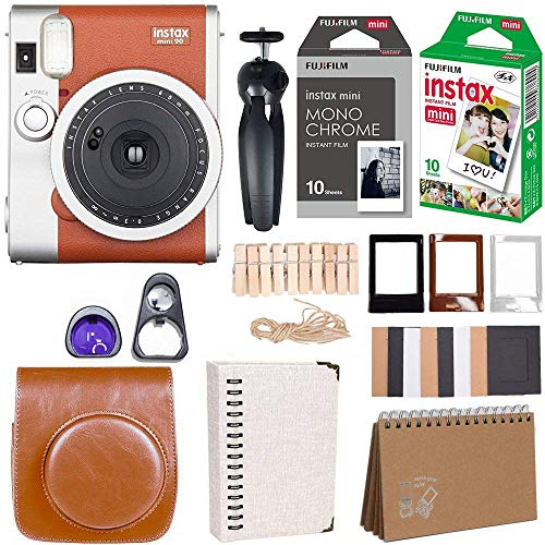 Fujifilm Instax Mini 90 Instant Camera + Fuji Instax Film (20 Sheets) + Giant Accessories Bundle(12 Piece) (Brown)