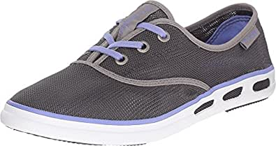 Columbia Women's Vulc N Vent Lace Mesh PFG Outdoor Sneakers, Grey Canvas, Rubber, 9.5 M