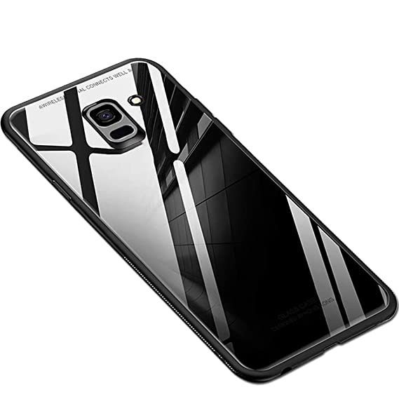 timeless design 720f1 0ad22 TheGiftKart Luxurious Toughened Glass Back Case with Shockproof TPU Bumper  Back Case Cover for Samsung Galaxy J6 / On6 Infinity (2018) (Black)