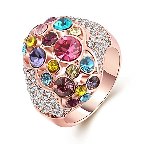 Naivo Rose Gold Plated Fruit of Sorbet Multi Color Birthstone Cocktail (One Loop Brass Setting)