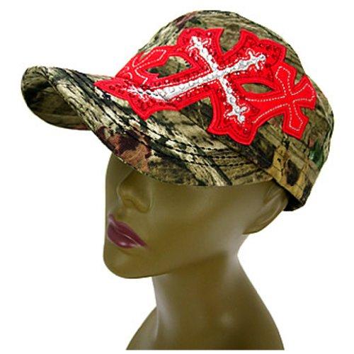 Rockstar Camo Rhinestone Cross Hat Cadet Cap Embroidered Camouflage (Red)