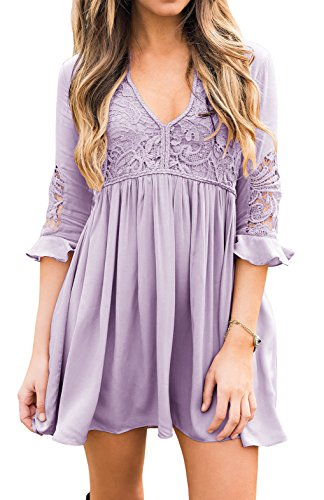Misassy Womens Lace Dresses Flare Bell Sleeve Boho Mini Dress Chiffon Babydoll Tunics (Girls Ruffled Tunic)