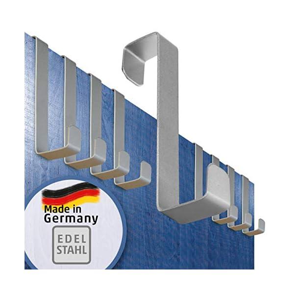 51gIuHkJYSL 4smile Türhaken zum Einhängen – 10er Set, Edelstahl – Made in Germany Kleiderhaken für die Tür – weil Ordnung halten so…