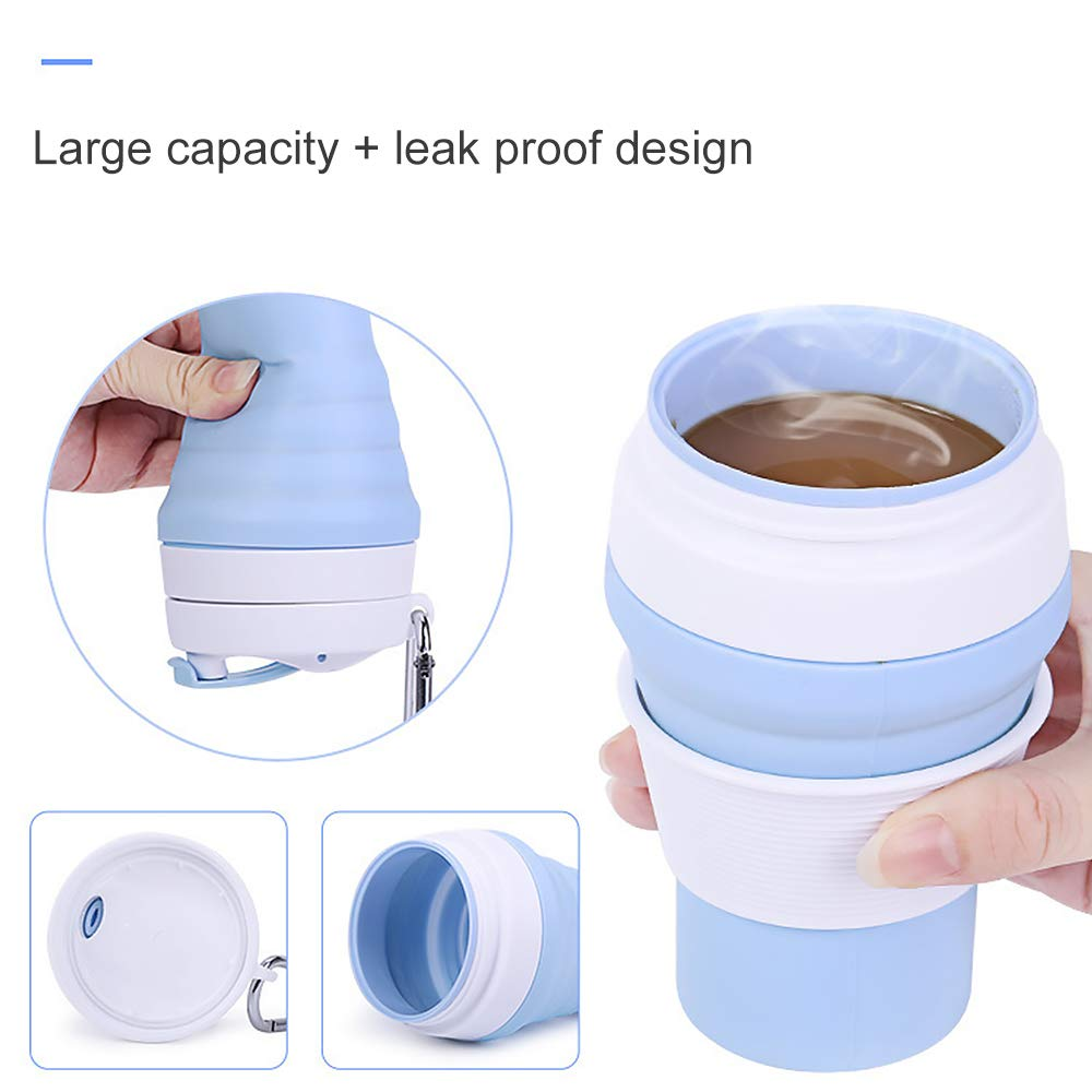 12 oz Foldable Drinking Mug BPA Free Retractable Coffee Mug//Cups for Hiking Camping Outdoor Picnic Collapsible Silicone Travel Cup with Lid