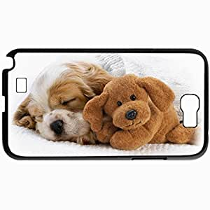 Personalized Protective Hardshell Back Hardcover For Samsung Note 2, Dogs Puppy And Toy 32372 Design In Black Case Color