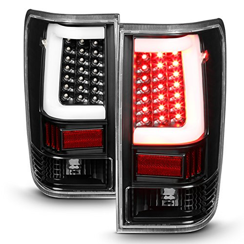 For 2004-2015 Nissan Titan Pickup Black Bezel C-Shape LED Tube Tail Brake Light Lamp Assembly