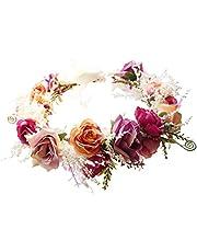 Vivivalue Boho Rose Flower Wreath Headband Crown Halo Floral Hair Garland Headpiece with Ribbon Festival Wedding Pink