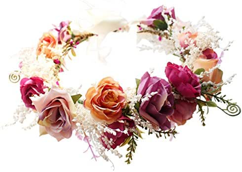Vivivalue Adjustable Flower Headband Hair Wreath Floral Garland Crown Halo Headpiece with Ribbon Boho Wedding Festival