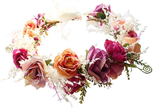 Vivivalue Boho Rose Flower Wreath Headband Crown Halo Floral Hair Garland Headpiece with Ribbon Festival Wedding Pink ()