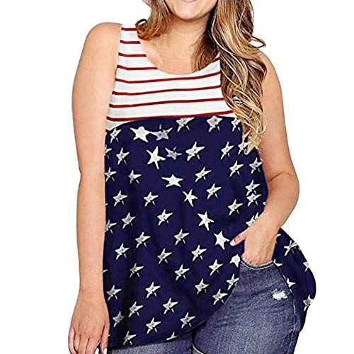Women's 4th July American Flag Patriotic Stars Stripe T-Shirt Dress Summer Casual Loose Fit Sleeveless Plus Size Long Tee Blouse (White, XXXXL)