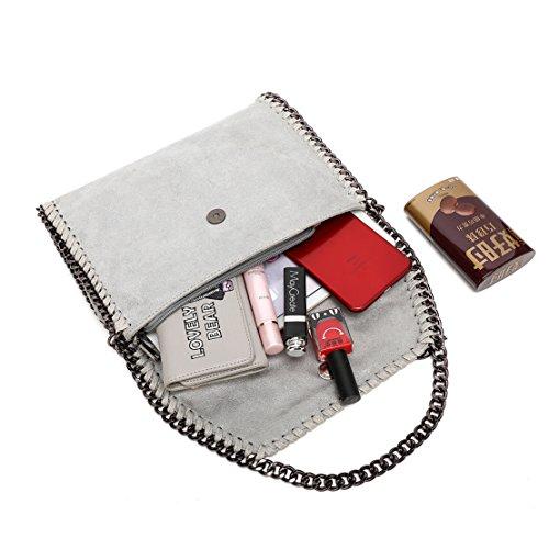 Bag girls handbag Bag Grey Crossbody Mini shoulder Women's Soft Chain Leather Mioy For PU color Casual bag Solid qUa76g1