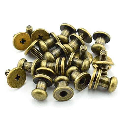 LQ Industrial 30 Pack Bronze Round Phillips Head Button Stud Screws 6x8x8mm Chicago Screws Nail Rivet For DIY Leather Craft