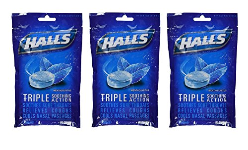 Halls Drops, Menthol-Lyptus, 30-Count Drops (Pack of 3) (Best Non Menthol Cough Drops)