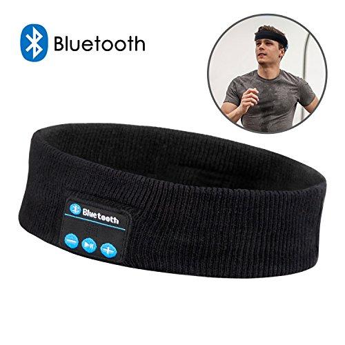 Bluetooth Headband Headphones, Bluetooth Wireless Music Headsets Sport Headbands Built-In Speakers Microphone for Workout, Crossfit, Jogging, Yoga, Black