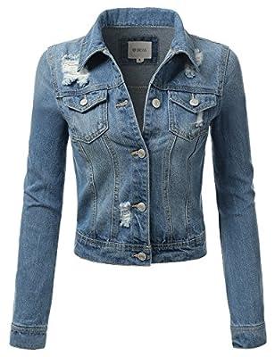 DRESSIS Womens Slim Fit Cropped Demin Jean Jacket