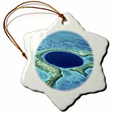 3dRose orn_85536_1 Blue Hole, Lighthouse Reef, Belize SA02 GJO0120 Greg Johnston Snowflake Ornament, Porcelain, 3-Inch