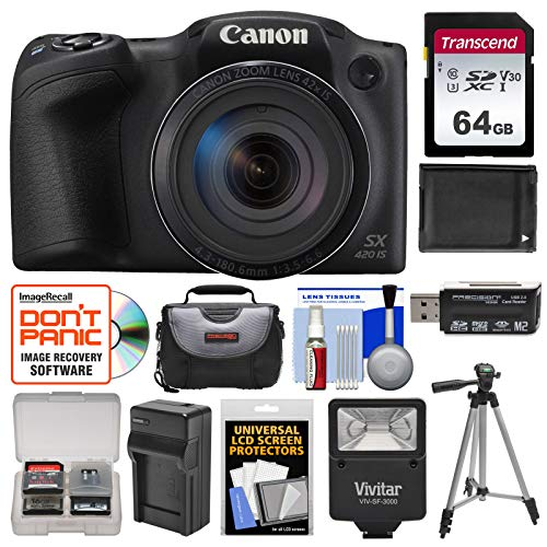 Canon PowerShot SX420 is Wi-Fi Digital Camera (Black) with 64GB Card + Case + Flash + Battery + Charger + Tripod + Kit ()