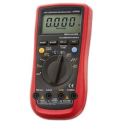 Flexzion UNI-T UT61D Digital Multimeter True RMS 6000 Counts Auto Range AC DC Voltage Current Resistance Capacitance Measurement LCD Backlight DMM Multimetro Ammeter Multitester