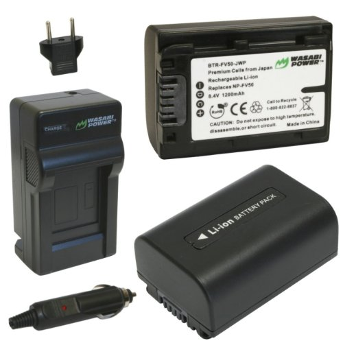 (Wasabi Power Battery (2-Pack) and Charger for Sony NP-FV30, NP-FV40, NP-FV50 and Sony DCR-SR15, SR21, SR68, SR88, SX15, SX21, SX44, SX45, SX63, SX65, SX83, SX85, FDR-AX100, HDR-CX105, CX110, CX115, CX130, CX150, CX155, CX160, CX190, CX200, CX210, CX220, CX230, CX260V, CX290, CX300 , CX305, CX330, CX350V, CX360V, CX380, CX430V, CX520V, CX550V, CX560V, CX580V, CX700V, CX760V, CX900, HC9, PJ10, PJ30V, PJ50, PJ200, PJ230, PJ260V, PJ340, PJ380, PJ430V, PJ540, PJ580V, PJ650V, PJ710V, PJ760V, PJ790V, PJ810, TD20V, TD30V, XR150, XR155, XR160, XR260V, XR350V, XR550V, HXR-NX30U, NX70U)